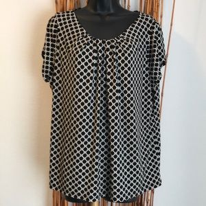 Black & White Gathered Front Blouse